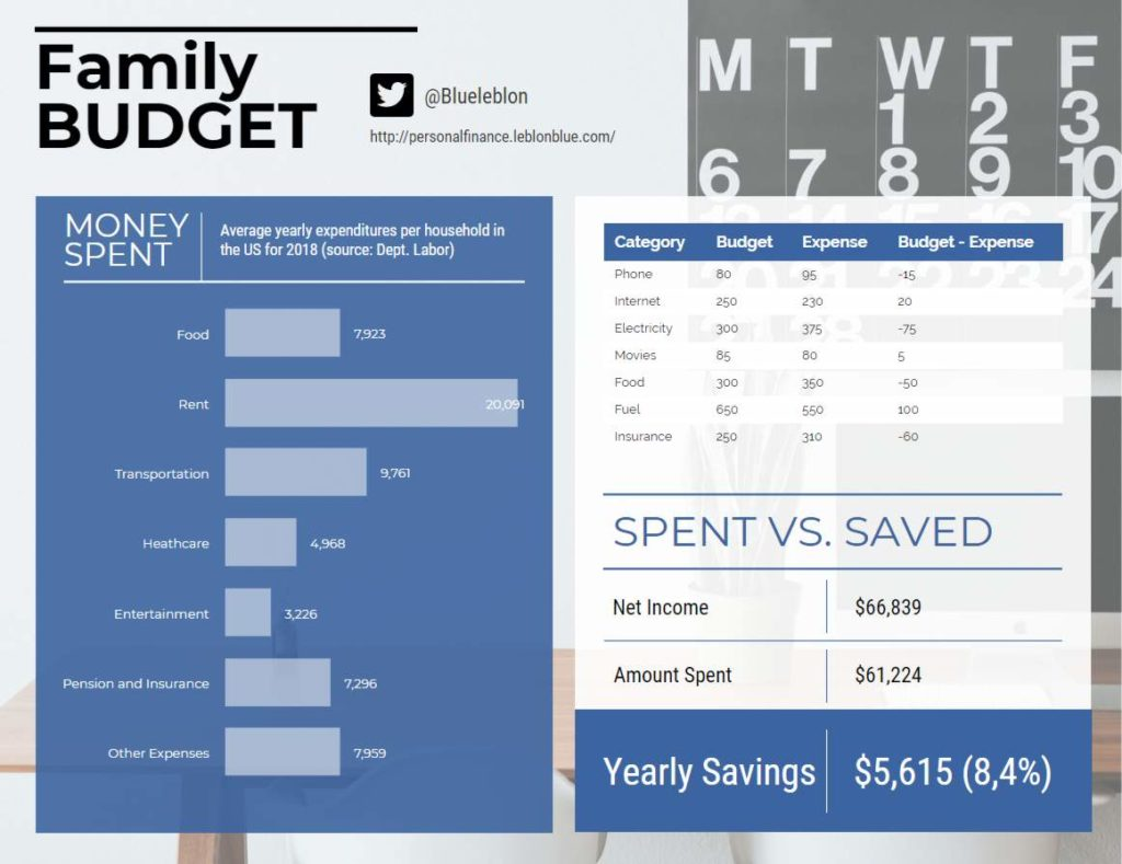 Family budget example showing average american income and savings.